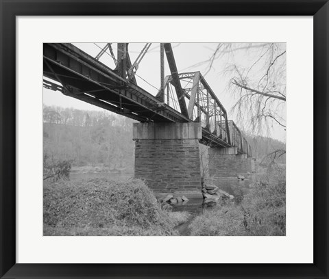 Framed GENERAL VIEW NORTH, SOUTHEAST SIDE FROM SOUTHEAST BANK. - Joshua Falls Bridge, Spanning James River at CSX Railroad, Lynchburg Print