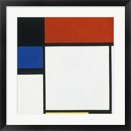 Framed Composition No. III / Fox Trot B with Black, Red, Blue and Yellow, 1929 Print
