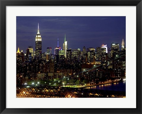 Framed Midtown Manhattan at Night 1 Print