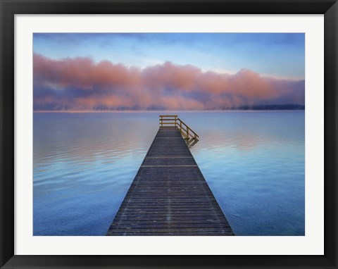 Framed Boat Ramp and Fog Bench, Bavaria, Germany Print