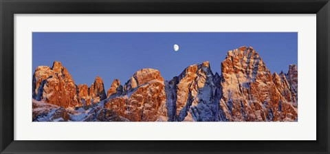 Framed Pale Di San Martino And Moon, Italy Print