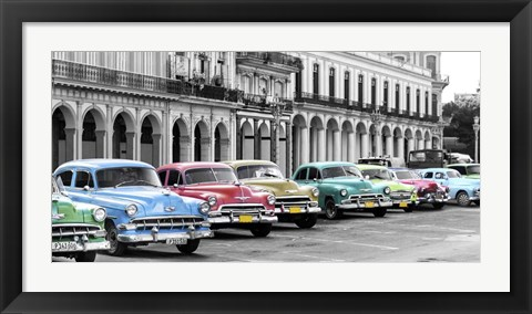 Framed Cars Parked in Line, Havana, Cuba Print