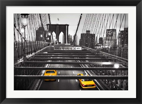 Framed Taxi on Brooklyn Bridge, NYC Print