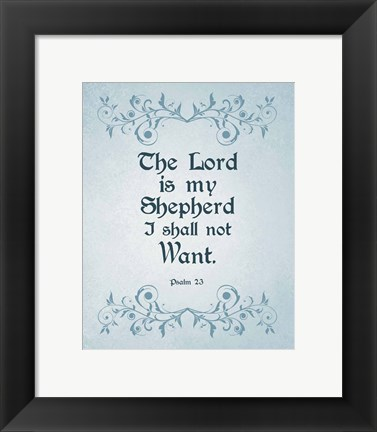 Framed Psalm 23 The Lord is My Shepherd - Blue Print
