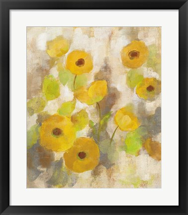 Framed Floating Yellow Flowers III Print