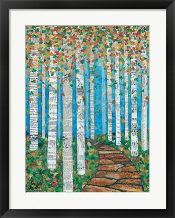 Framed Falling Birch Leaves Print