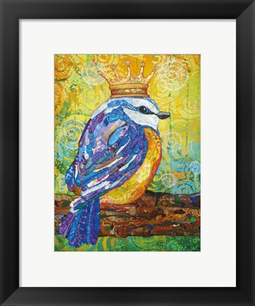 Framed Baby Bird with Crown Print