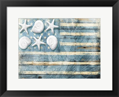 Framed Water Blue American Flag Print