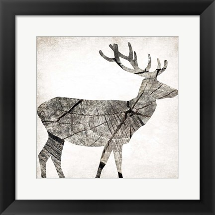 Framed Wood Deer Print