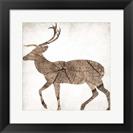 Framed Brown Wood Deer Mate Print