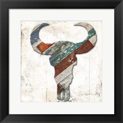 Framed Wooden Bull Head Print
