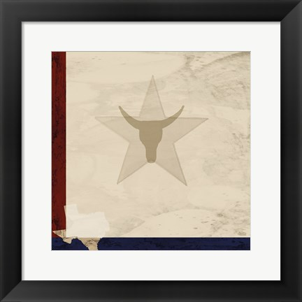 Framed Stars and Longhorns Print