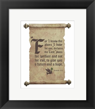 Framed Jeremiah 29:11 For I know the Plans I have for You (Dove on Scroll) Print