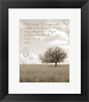 Framed Zephaniah 3:17 The Lord Your God (Grey Landscape) Print