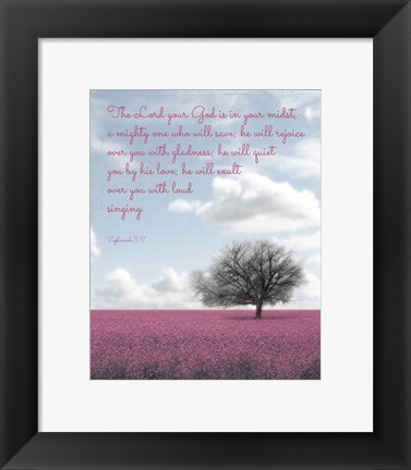 Framed Zephaniah 3:17 The Lord Your God (Colored Landscape) Print