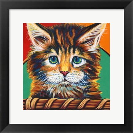Framed Kitten in Basket I Print