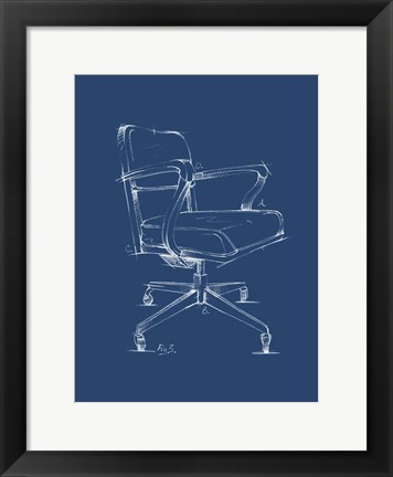 Framed Office Chair Blueprint I Print