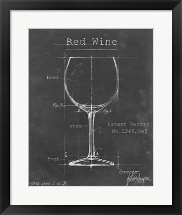 Framed Barware Blueprint III Print