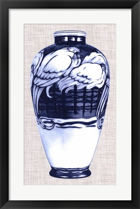 Framed Blue & White Vase VI Print