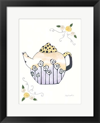 Framed Black & White Roses on Round Teapot Print