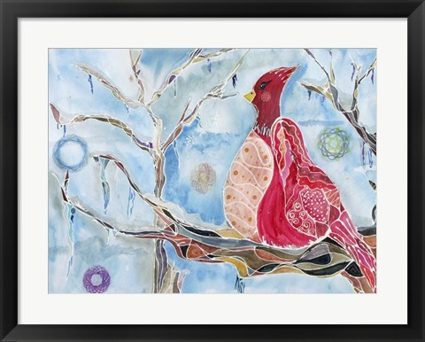 Framed Winter Bird Print