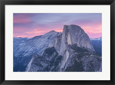 Framed Mountian Top at Sunset Print