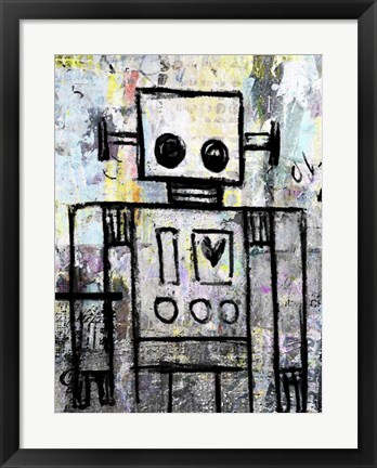 Framed Boy Robot Color Print