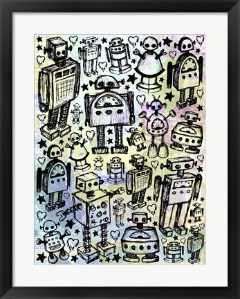 Framed Robot Crowd Color Print