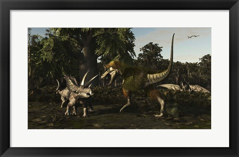 Framed Bistahieversor Attacking a Pair of Pentaceratops Print