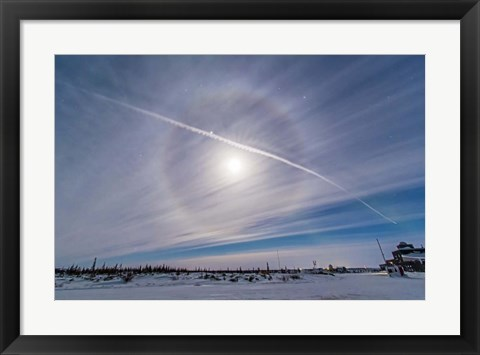 Framed Ice crystal Lunar Halo around the Gibbous Moon Print