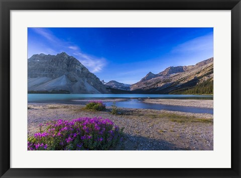 Framed Twilight on Bow Lake, Banff National Park, Canada Print