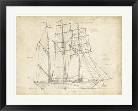 Framed Sailboat Blueprint I Print