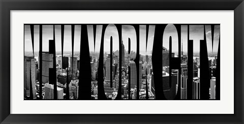 Framed Aerial view of cityscape through text, NY Print