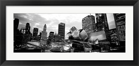 Framed Low angle view of buildings lit up at night, Millennium Park, Chicago, Illinois Print