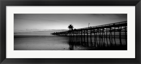 Framed Silhouette of a pier, San Clemente Pier, Los Angeles County, California Print