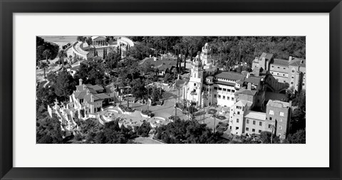 Framed Aerial view of a castle on a hill, Hearst Castle, San Simeon, California Print