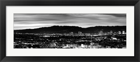 Framed High angle view of a city at dusk, Culver City, Santa Monica Mountains, California Print