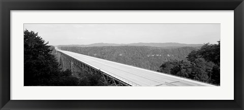 Framed West Virginia, Route 19, High angle view of New River Gorge Bridge Print