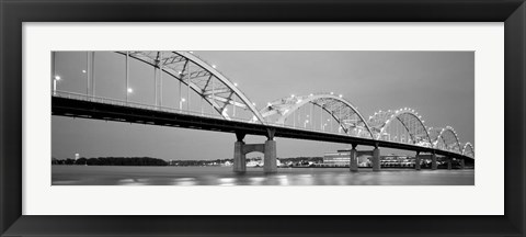 Framed Bridge over a river, Centennial Bridge, Davenport, Iowa Print