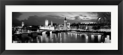 Framed Buildings lit up at dusk, Big Ben, Houses Of Parliament, London, England Print