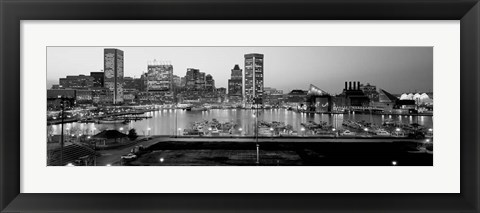 Framed Inner Harbor, Baltimore, Maryland BW Print
