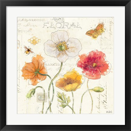 Framed Painted Poppies III Print