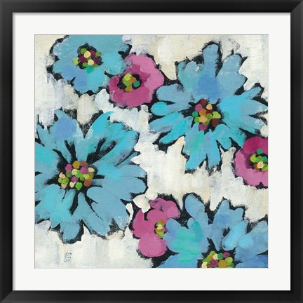 Framed Graphic Pink and Blue Floral III Print