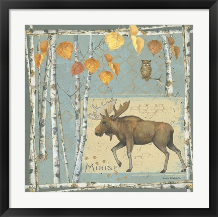 Framed Moose (blue background) Print
