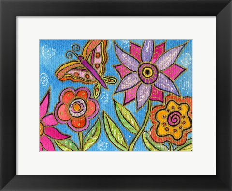 Framed Funky Flowers And Butterfly Print