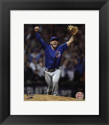 Framed Kris Bryant celebrates the final out of Game 7 of the 2016 World Series Print