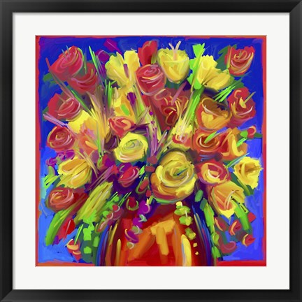 Framed Pop Flowers 215 Print