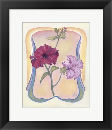 Framed Art Deco Petunias Print