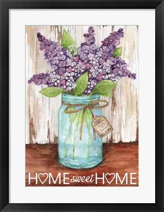 Framed Lilacs Home Sweet Home Jar Print