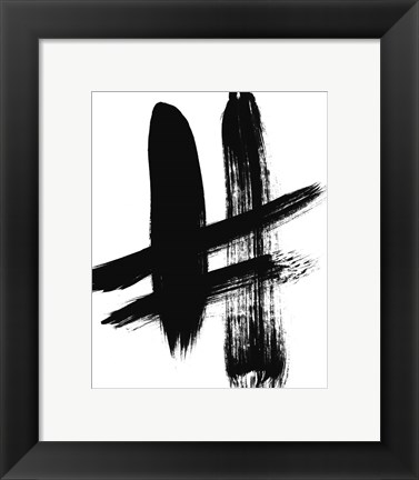 Framed BW Brush Stroke V Print